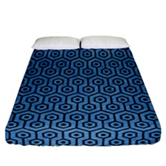 Hexagon1 Black Marble & Blue Colored Pencil (r) Fitted Sheet (california King Size) by trendistuff