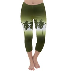 Tropical Sunset Capri Winter Leggings  by Valentinaart