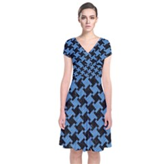 Houndstooth2 Black Marble & Blue Colored Pencil Short Sleeve Front Wrap Dress by trendistuff