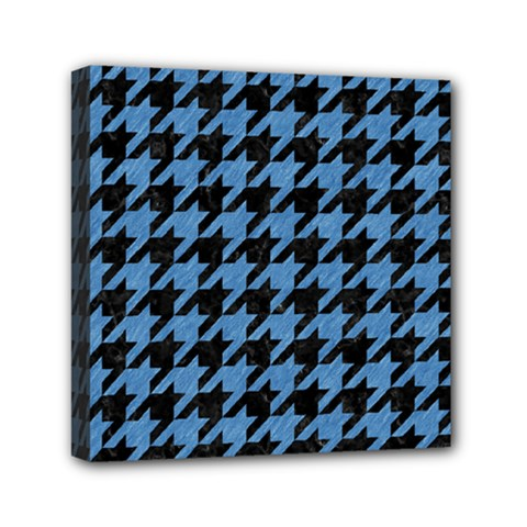 Houndstooth1 Black Marble & Blue Colored Pencil Mini Canvas 6  X 6  (stretched) by trendistuff