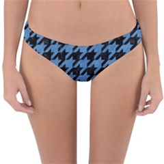 Houndstooth1 Black Marble & Blue Colored Pencil Reversible Hipster Bikini Bottoms