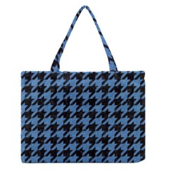 Houndstooth1 Black Marble & Blue Colored Pencil Medium Zipper Tote Bag by trendistuff