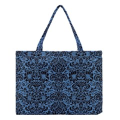 Damask2 Black Marble & Blue Colored Pencil (r) Medium Tote Bag by trendistuff