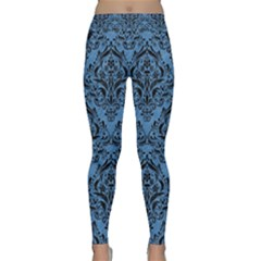 Damask1 Black Marble & Blue Colored Pencil (r) Classic Yoga Leggings