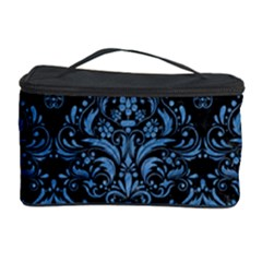 Damask1 Black Marble & Blue Colored Pencil Cosmetic Storage Case