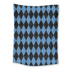 Diamond1 Black Marble & Blue Colored Pencil Medium Tapestry by trendistuff