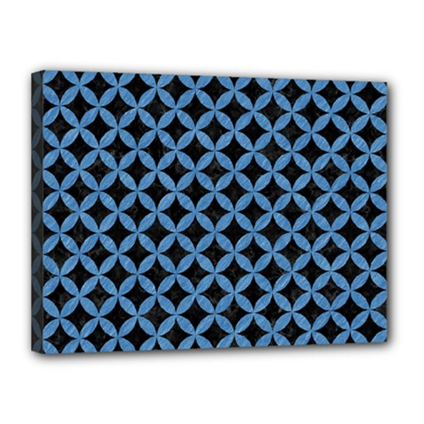 Circles3 Black Marble & Blue Colored Pencil Canvas 16  X 12  (stretched) by trendistuff