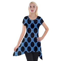 Circles2 Black Marble & Blue Colored Pencil (r) Short Sleeve Side Drop Tunic by trendistuff