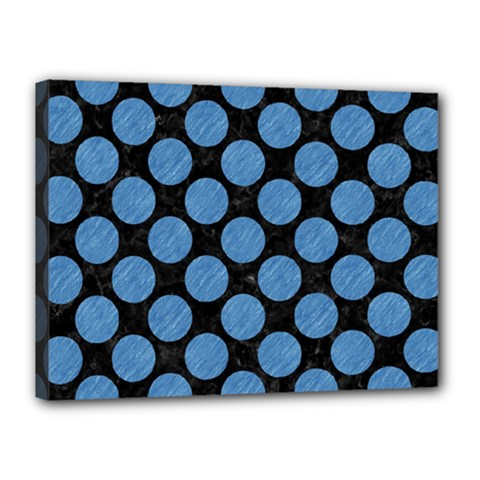 Circles2 Black Marble & Blue Colored Pencil Canvas 16  X 12  (stretched) by trendistuff