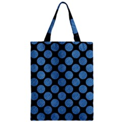 Circles2 Black Marble & Blue Colored Pencil Zipper Classic Tote Bag by trendistuff