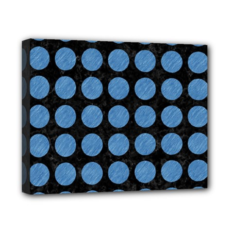 Circles1 Black Marble & Blue Colored Pencil Canvas 10  X 8  (stretched) by trendistuff