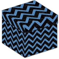 Chevron9 Black Marble & Blue Colored Pencil Storage Stool 12  by trendistuff