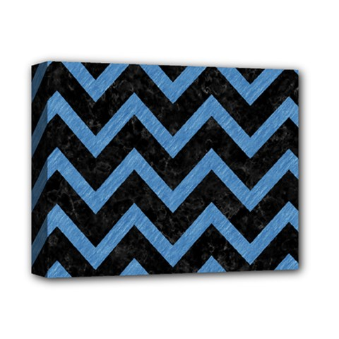 Chevron9 Black Marble & Blue Colored Pencil Deluxe Canvas 14  X 11  (stretched) by trendistuff