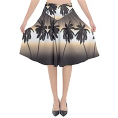 Tropical Sunset Flared Midi Skirt by Valentinaart