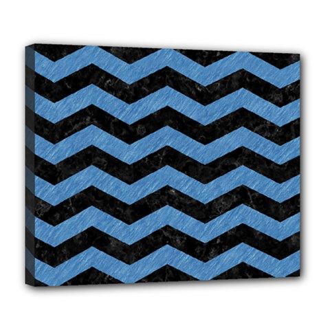 Chevron3 Black Marble & Blue Colored Pencil Deluxe Canvas 24  X 20  (stretched) by trendistuff
