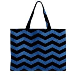 Chevron3 Black Marble & Blue Colored Pencil Zipper Mini Tote Bag by trendistuff
