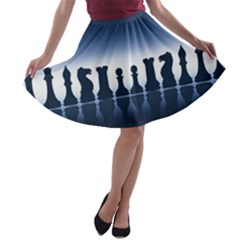 Chess Pieces A Line Skater Skirt by Valentinaart
