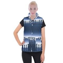 Chess Pieces Women s Button Up Puffer Vest by Valentinaart