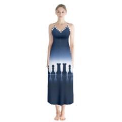 Chess Pieces Button Up Chiffon Maxi Dress