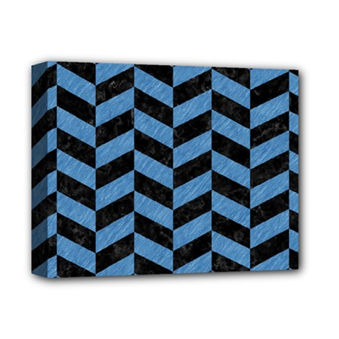 Chevron1 Black Marble & Blue Colored Pencil Deluxe Canvas 14  X 11  (stretched) by trendistuff