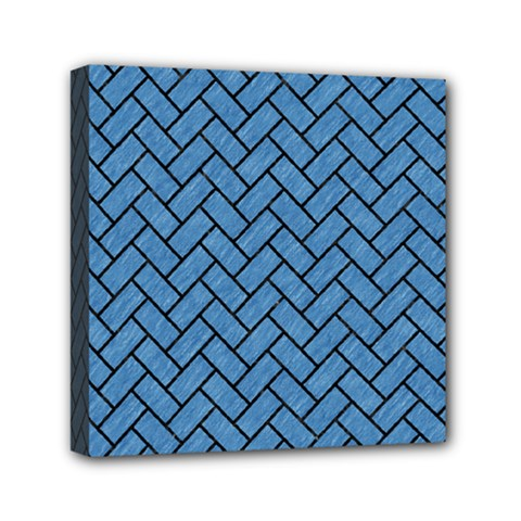 Brick2 Black Marble & Blue Colored Pencil (r) Mini Canvas 6  X 6  (stretched) by trendistuff