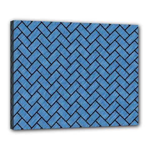 Brick2 Black Marble & Blue Colored Pencil (r) Canvas 20  X 16  (stretched) by trendistuff