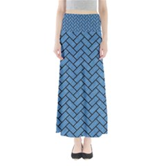 Brick2 Black Marble & Blue Colored Pencil (r) Full Length Maxi Skirt by trendistuff