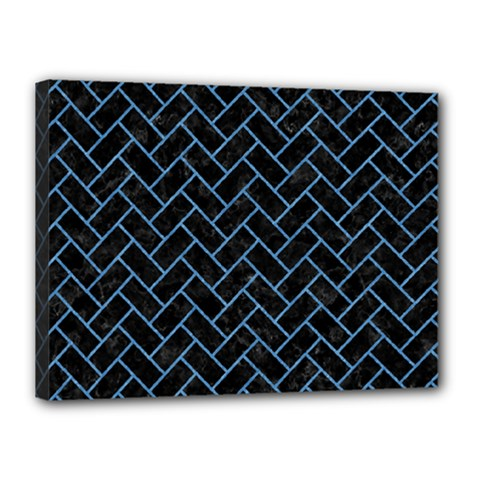 Brick2 Black Marble & Blue Colored Pencil Canvas 16  X 12  (stretched) by trendistuff