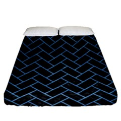 Brick2 Black Marble & Blue Colored Pencil Fitted Sheet (queen Size) by trendistuff