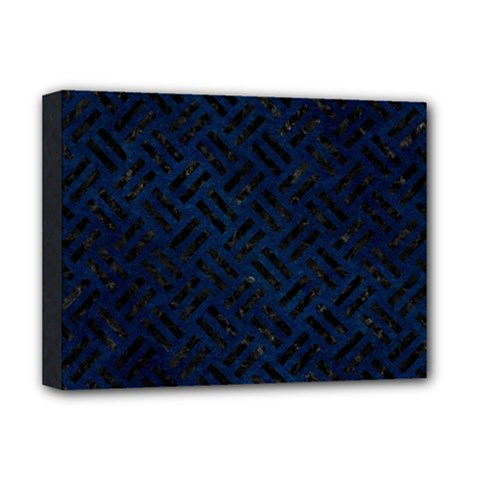Woven2 Black Marble & Blue Grunge (r) Deluxe Canvas 16  X 12  (stretched)  by trendistuff