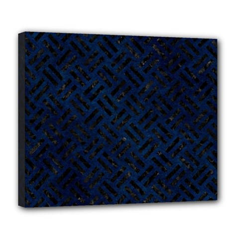 Woven2 Black Marble & Blue Grunge (r) Deluxe Canvas 24  X 20  (stretched) by trendistuff