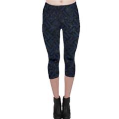 Woven2 Black Marble & Blue Grunge Capri Leggings  by trendistuff