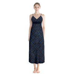 Woven2 Black Marble & Blue Grunge Button Up Chiffon Maxi Dress