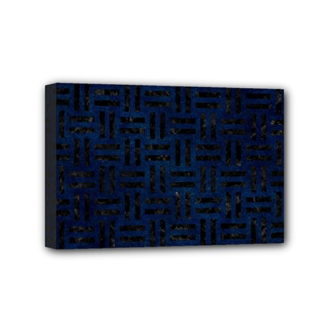 Woven1 Black Marble & Blue Grunge (r) Mini Canvas 6  X 4  (stretched) by trendistuff