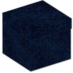 Woven1 Black Marble & Blue Grunge (r) Storage Stool 12  by trendistuff