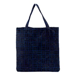 Woven1 Black Marble & Blue Grunge (r) Grocery Tote Bag by trendistuff