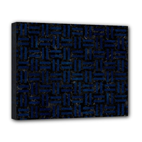 Woven1 Black Marble & Blue Grunge Deluxe Canvas 20  X 16  (stretched) by trendistuff