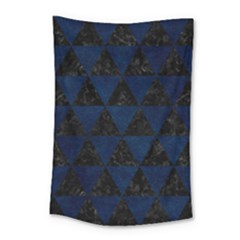 Triangle3 Black Marble & Blue Grunge Small Tapestry by trendistuff