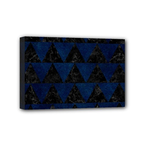 Triangle2 Black Marble & Blue Grunge Mini Canvas 6  X 4  (stretched) by trendistuff