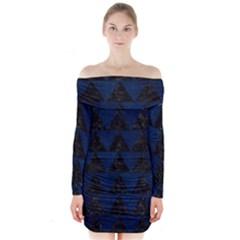 Triangle2 Black Marble & Blue Grunge Long Sleeve Off Shoulder Dress by trendistuff