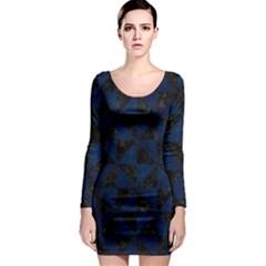 Triangle1 Black Marble & Blue Grunge Long Sleeve Bodycon Dress by trendistuff
