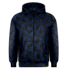 Triangle1 Black Marble & Blue Grunge Men s Zipper Hoodie by trendistuff