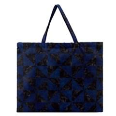 Triangle1 Black Marble & Blue Grunge Zipper Large Tote Bag by trendistuff