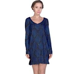 Tile1 Black Marble & Blue Grunge (r) Long Sleeve Nightdress by trendistuff