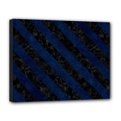 Stripes3 Black Marble & Blue Grunge (r) Canvas 14  X 11  (stretched) by trendistuff