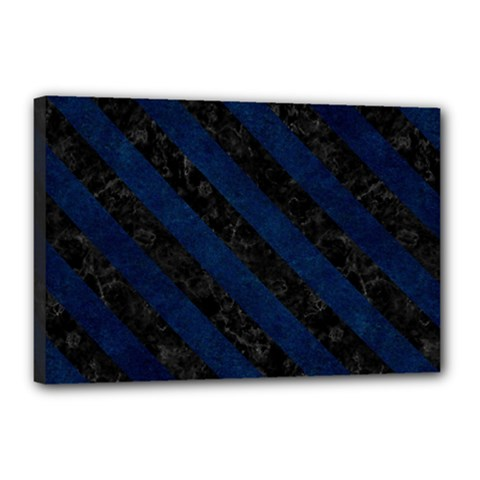 Stripes3 Black Marble & Blue Grunge (r) Canvas 18  X 12  (stretched) by trendistuff