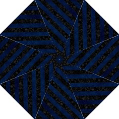 Stripes3 Black Marble & Blue Grunge (r) Straight Umbrella by trendistuff