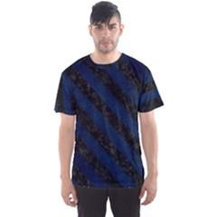 Stripes3 Black Marble & Blue Grunge (r) Men s Sports Mesh Tee by trendistuff