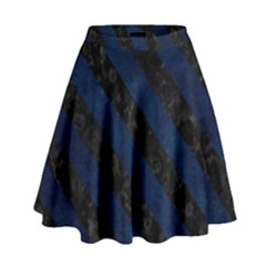 Stripes3 Black Marble & Blue Grunge (r) High Waist Skirt by trendistuff
