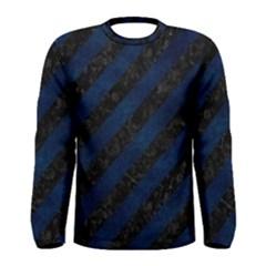 Stripes3 Black Marble & Blue Grunge Men s Long Sleeve Tee by trendistuff
